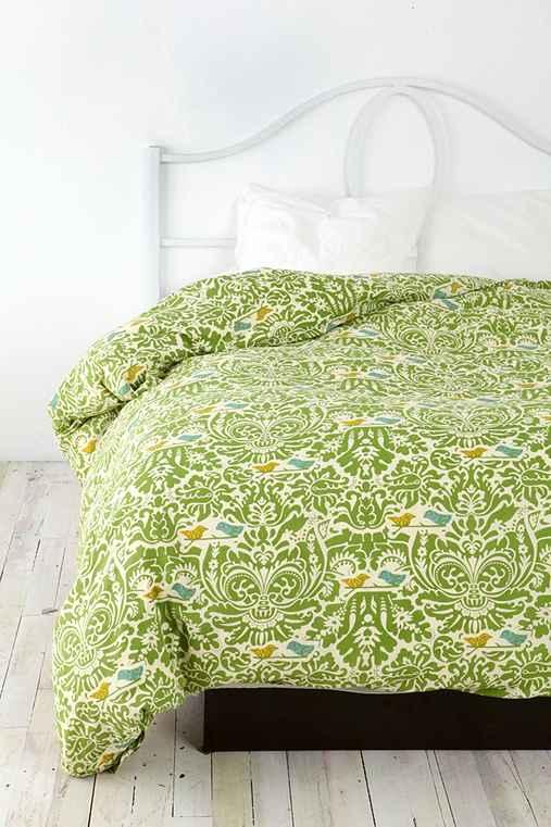 UrbanOutfitters.com > Birdie Stamp Duvet :  pattern bedroom print green