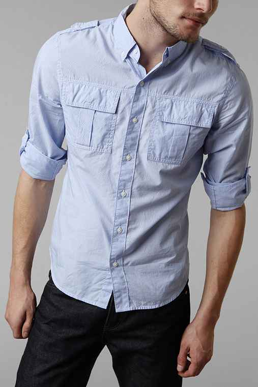 All-Son Mini Pinstripe Military Shirt