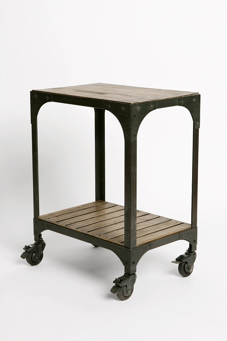 Industrial Rolling Side Table Urban Outfitters