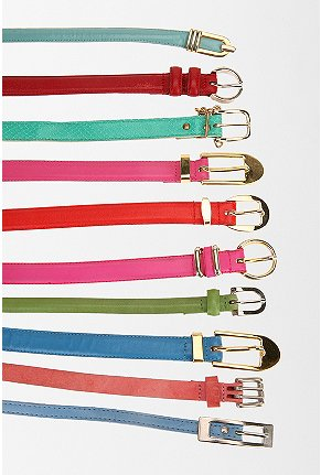 UrbanOutfitters -Urban Renewal Narrow Leather Belt :  narrow leather belt candy colored belt candy colored accessory brightly colored belt