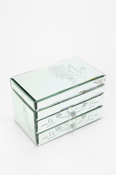 Etched Leaf Mirrored Jewelry Box