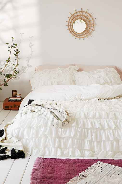 Urban Outfitters Waterfall Ruffle Duvet Cover Ivory White