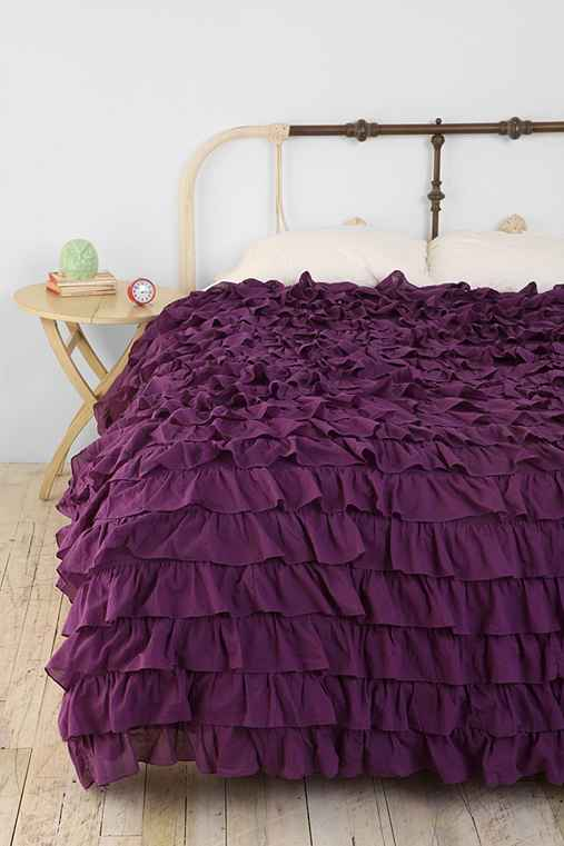 Waterfall Ruffle Duvet Cover,PURPLE,KING