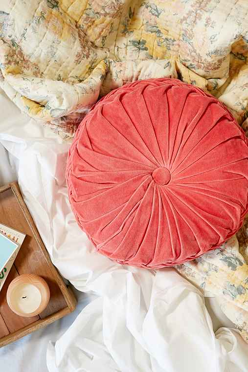 Round Pintuck Pillow,CORAL,ONE SIZE