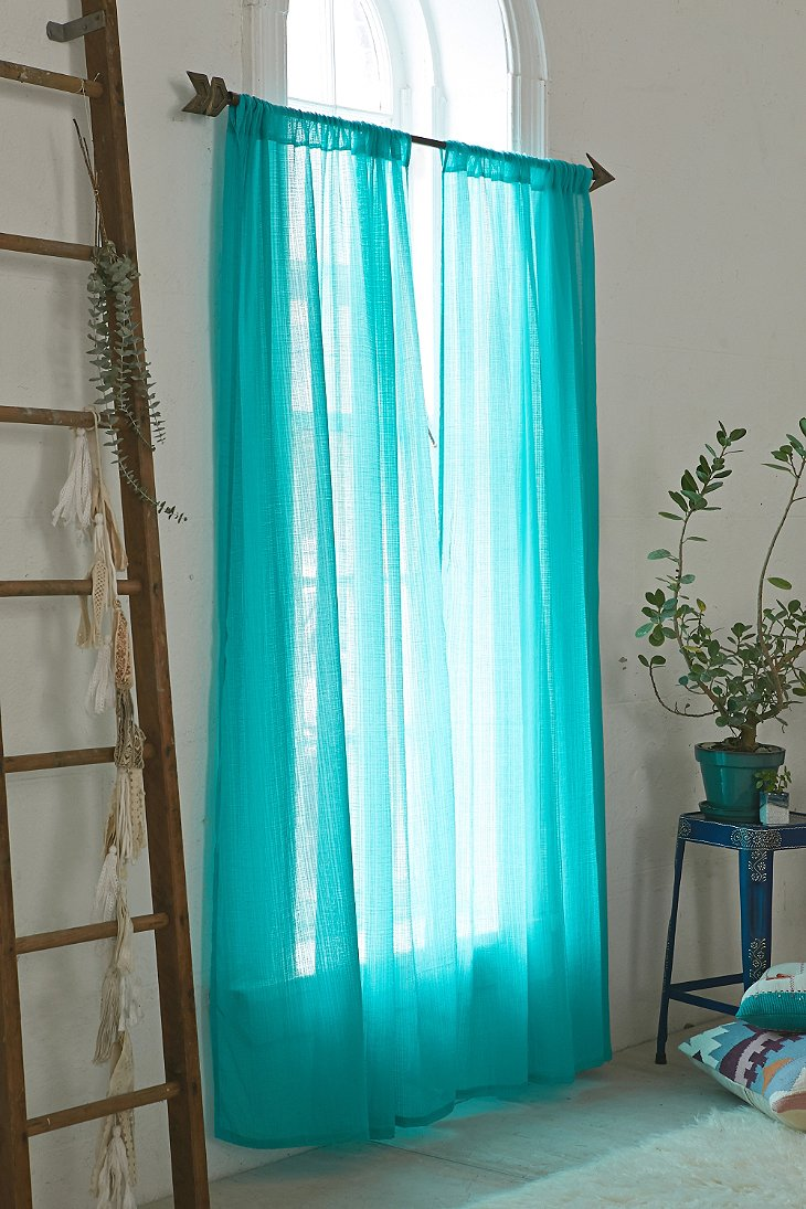 Chloe gauze curtain urban outfitters - White and turquoise curtains ...
