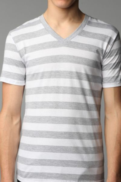 BDG Heather Stripe V-Neck Tee