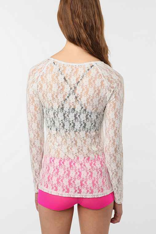 UrbanOutfitters.com > Pins And Needles Long Sleeve Lace TopUrbanOutfitters.com > Official Site of Urban Outfitters > Shop Women's, Men's and Apartment :  loose sheer white polyester