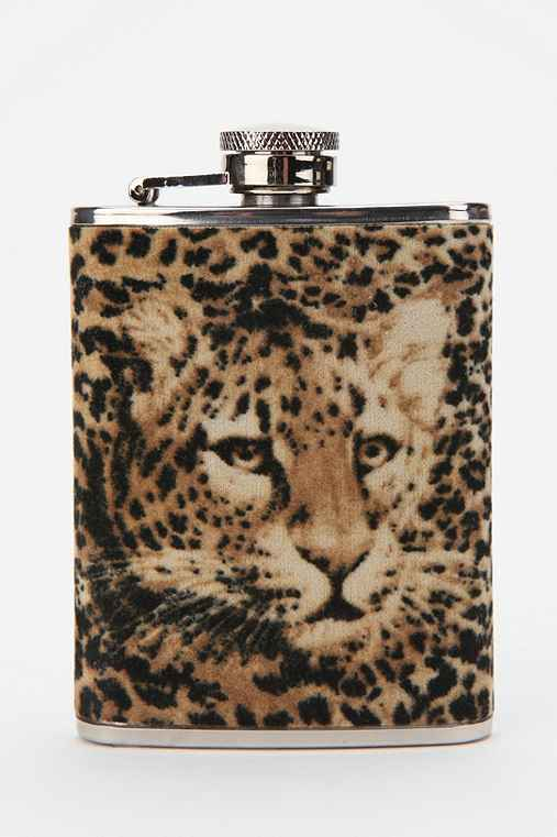 Cheetah Fabric Wrapped Flask