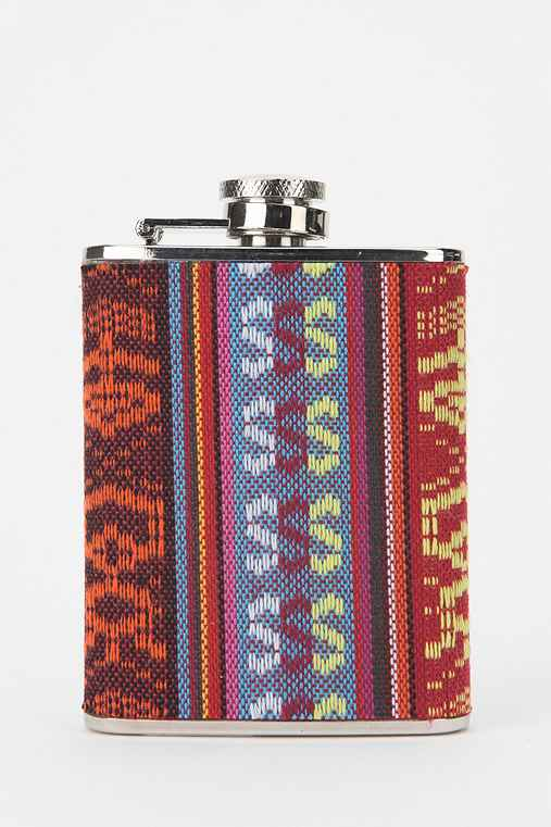 Printed Fabric Wrapped Flask