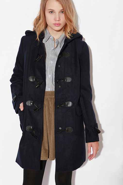 Long Hooded Toggle Coat :  coat front pockets wooly hooded