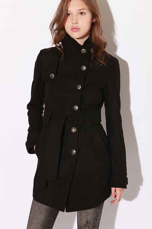 Long Belted Coat :  coat mock collar rain flaps button closure