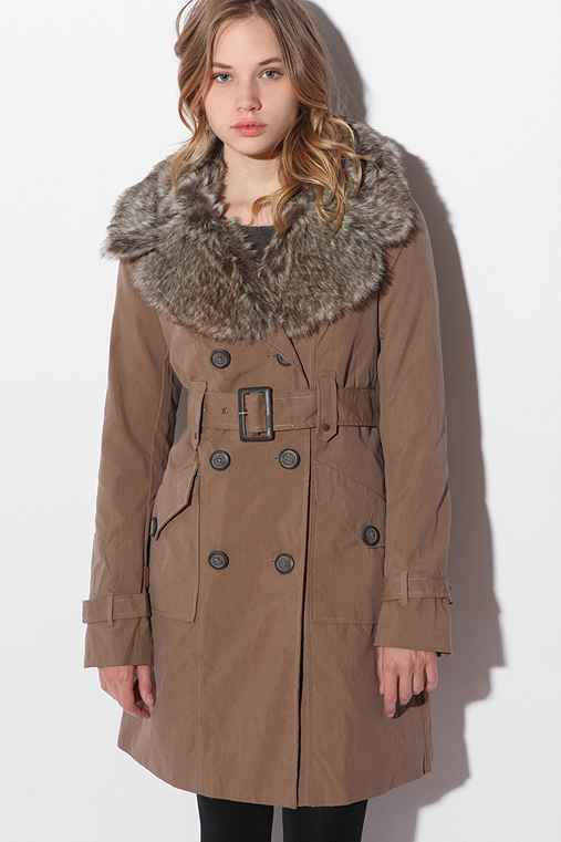 Faux Fur Collar Long Coat :  button front cinch waist coat faux fur
