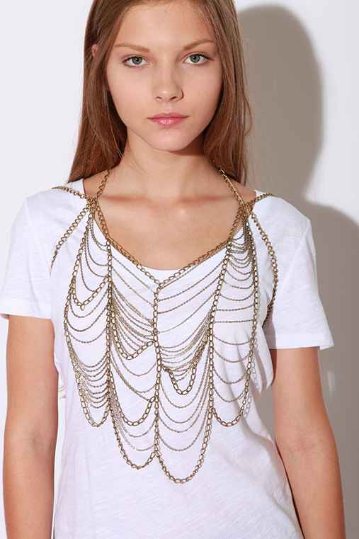 Draped Chain Vest :  necklace chain bib necklace urban outfitters