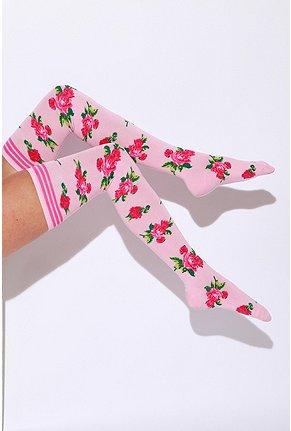 Betsey Johnson Mexicali Rose Thigh High :  socks rose print cotton blend stripes