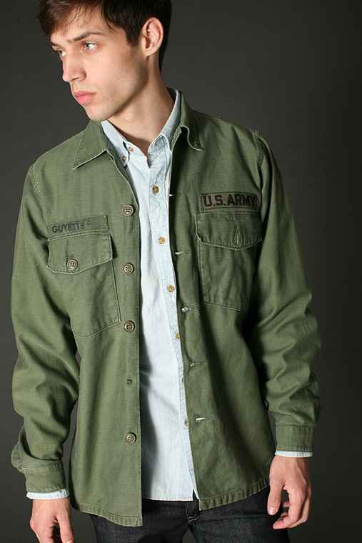 Urban Renewal Vintage Men's Patched Army Shirt