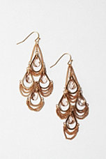 Draped Chain And Stone Chandelier Earrings