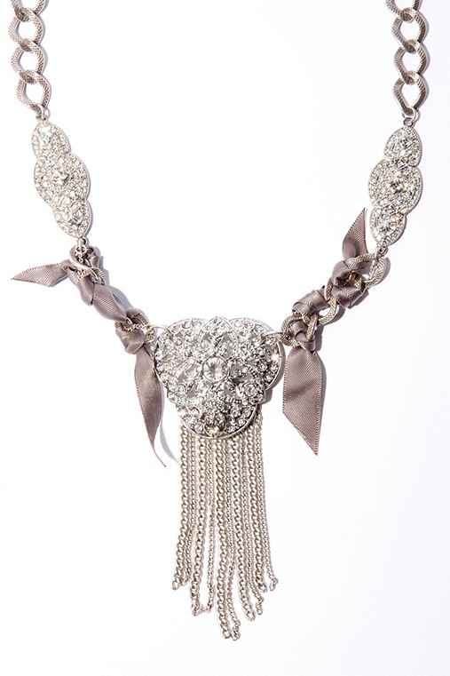Rhinestone Brooch And Ribbon Necklace