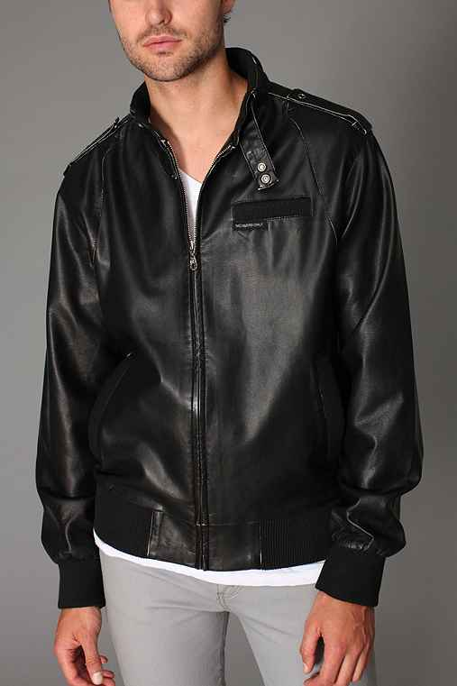 Members Only Faux Leather Bomber Jacket
