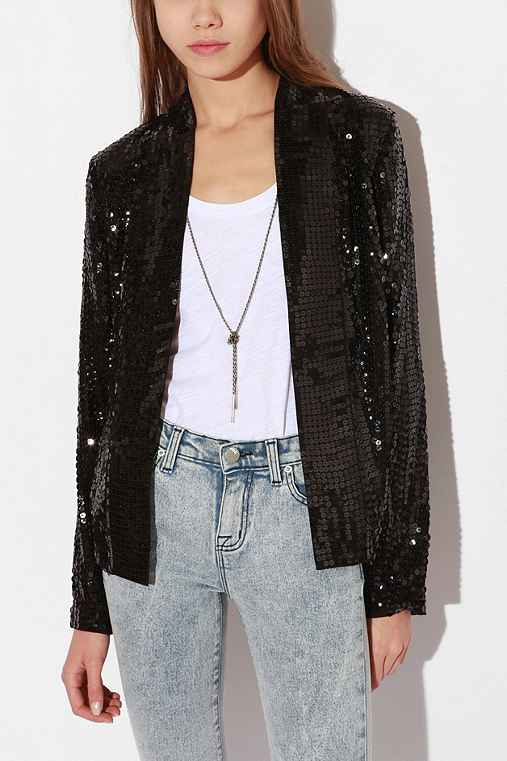 Silence & Noise - Sequined Chiffon Blazer :  sequined blazer silence amp noise sequined blazer