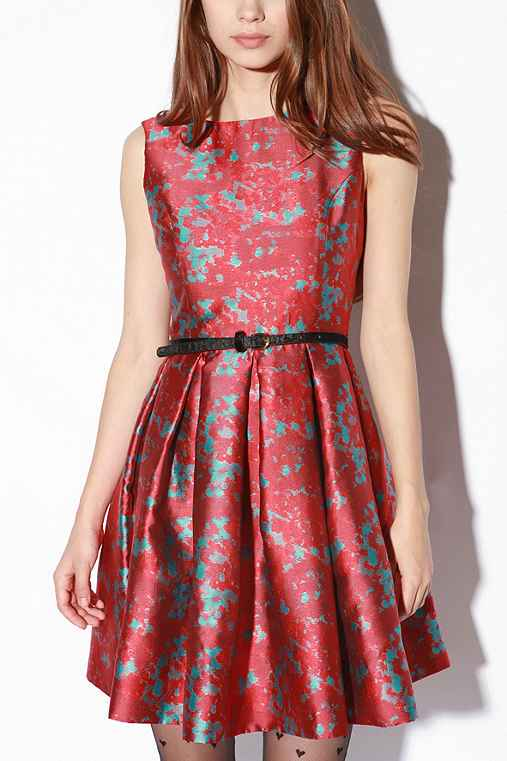 Halsey Dress :  above the knee party dress vintage inspired shiny