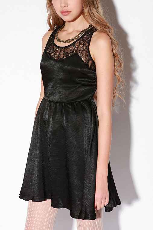 UrbanOutfitters.com > Lucca Couture Silky Lace Sweetheart Dress :  neutral polyester zipper clothing