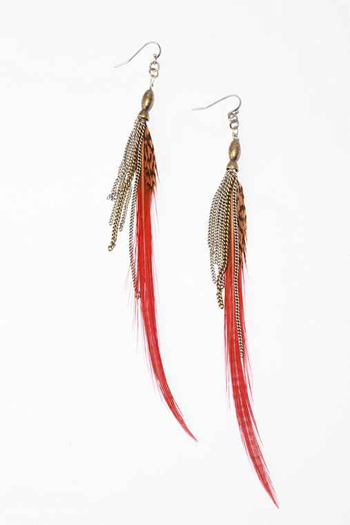 UrbanOutfitters. -Tribal Feather Earrings :  tribal feather earrings accessory feather earrings earrings