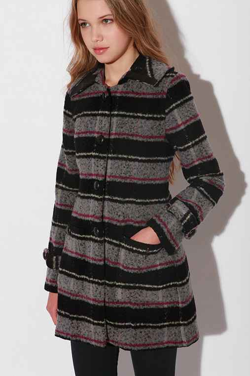 Jenny Coat :  button front striped patch pockets coat