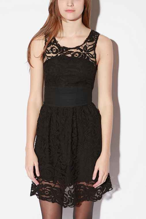 UrbanOutfitters.com > Meadow Lace Grosgrain Dress :  lace black clothing dresses