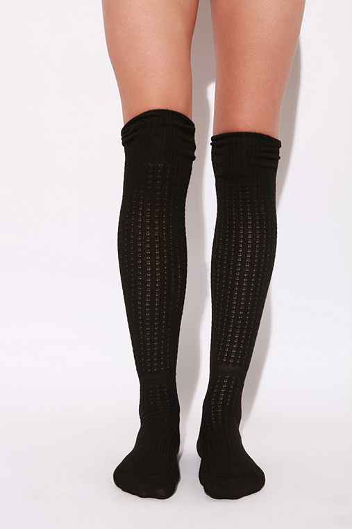 Open Stitch Over the Knee with Rib Knit Cuff Sock :  socks cuff socks stitching cotton
