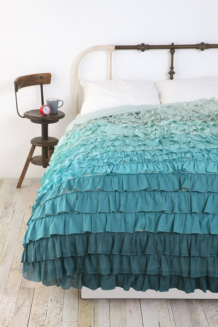 Tonal waterfall ruffle duvet cover urban outfitters for Frilly bedspreads
