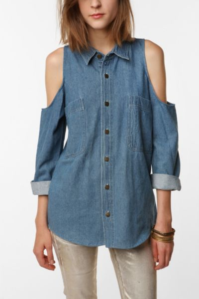 Urban Renewal Cold Shoulder Denim Shirt