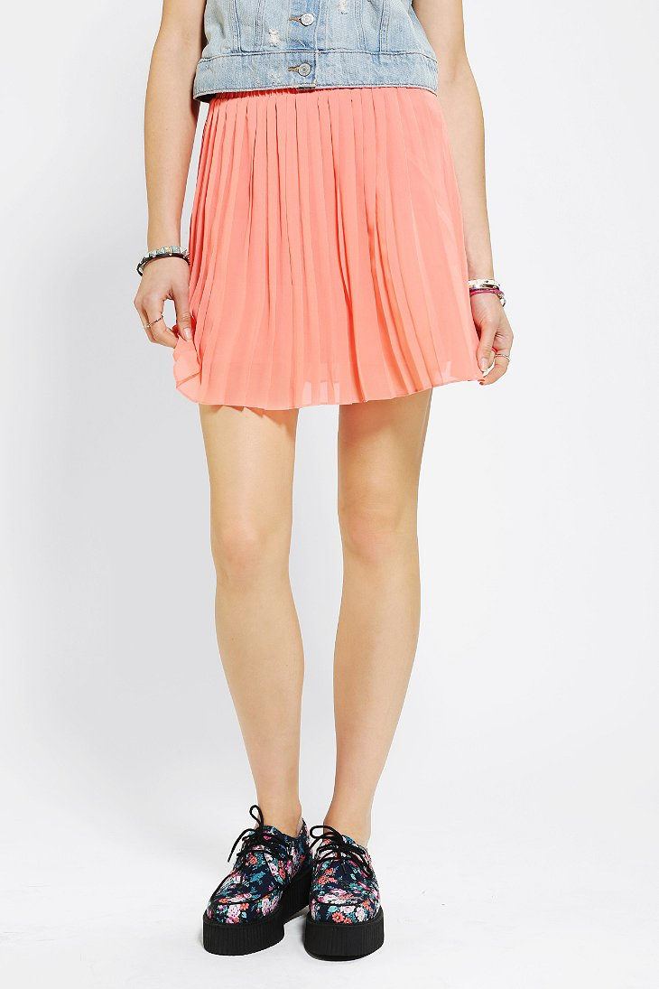 sparkle fade pleated chiffon mini skirt outfitters