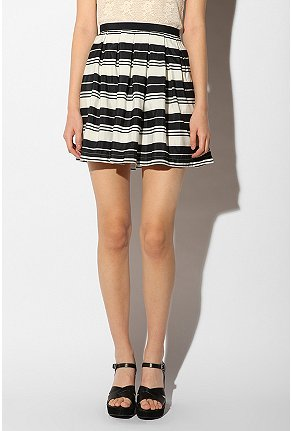 Kari Skirt :  high waist mini skirt stripes silky
