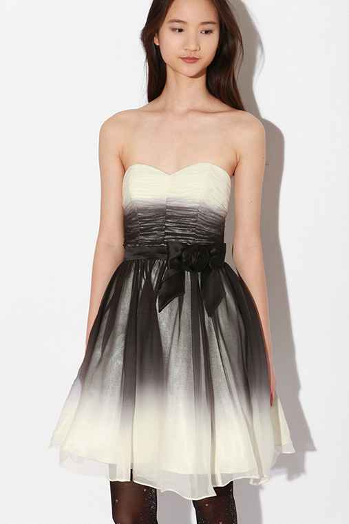 Betsey Johnson Ombre Chiffon Strapless Dress :  high waist ombre underlay satin