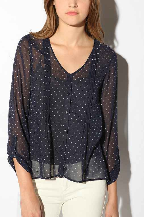 UrbanOutfitters.com > Pins and Needles Chiffon Tunic :  womens polyester see through pleats