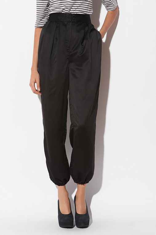 6x6 by No.6 - Satin High-Waisted Pant :  pants satin pants black pants high waisted pants
