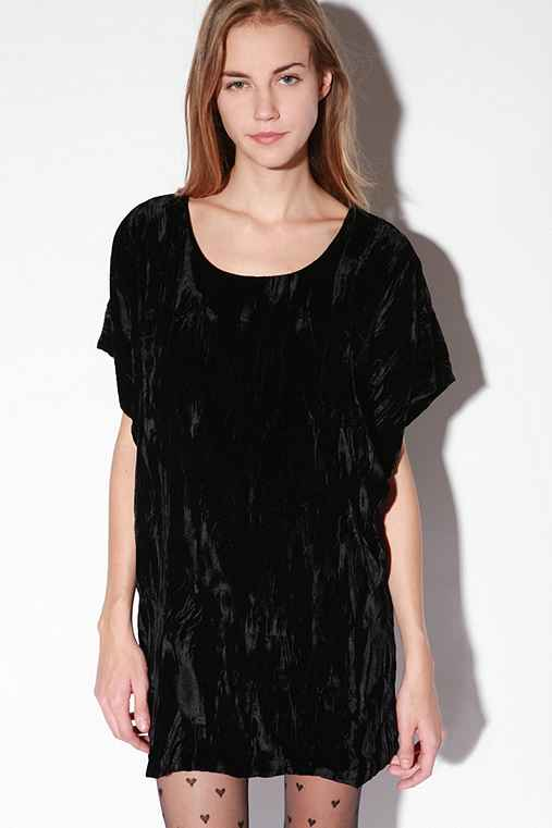Betsey Johnson Crushed Velvet Dress :  short sleeves mini dress crushed tunic