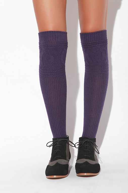 Rib and Cable Knit Over the Knee Sock
