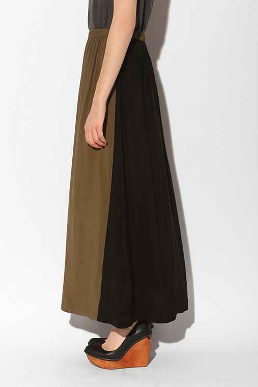 Silence & Noise - Two-Tone Full Length Skirt :  silence amp noise urban outiftters silence amp noise twotone full length skirt long skirt