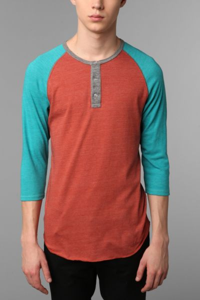 Alternative 3/4-Sleeve Two-Tone Henley Tee