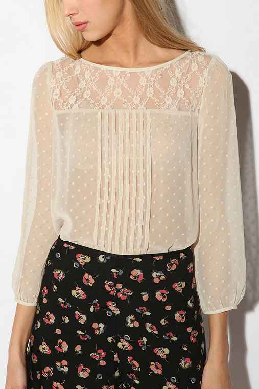 Kimchi Blue - Swiss Dot Lace Inset Blouse :  chiffon lace top urban outfitters