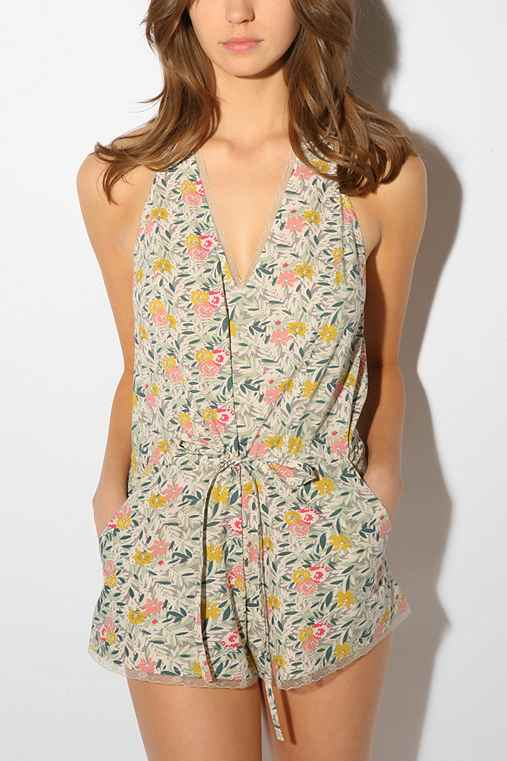 Urban Outfitters Printed Deep V Romper from urbanoutfitters.com