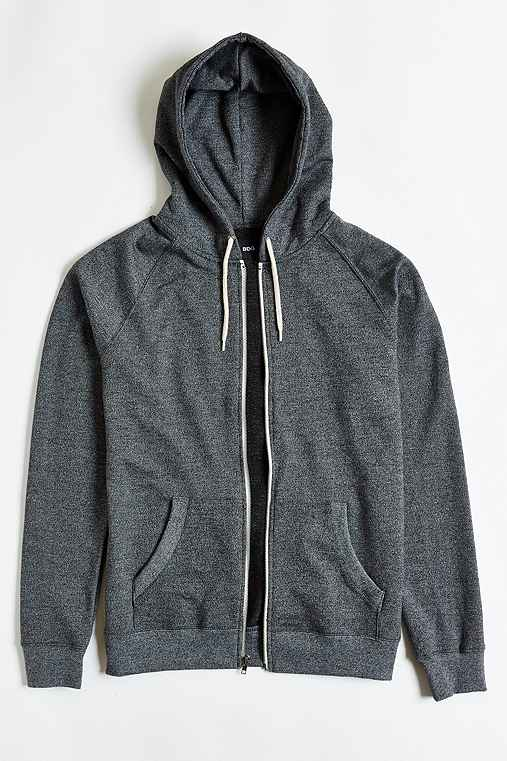 BDG Speckled Raglan Zip-Up Hoodie Sweatshirt