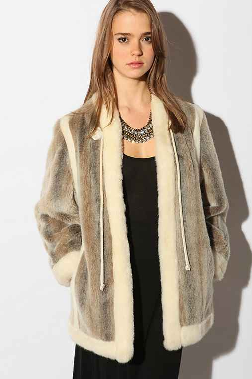Urban Outfitters - Vintage 60s Tie Front Faux Fur Coat :  faux fur coat outerwear coats vintage