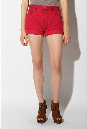 Urban Renewal - Cuffed Denim Shorts :  denim denim shorts cuffed shorts red shorts