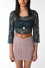 Pins and Needles 3/4 Sleeve Scalloped Lace Top