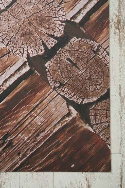 Trompe L'Oeil Floor Mat - Rustic Wood Scope