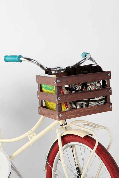 > Classic Crate Wood Bike Basket