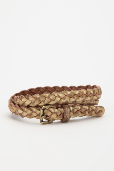 BDG Skinny Braided Leather Belt