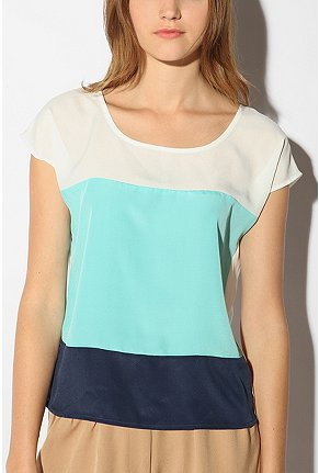 UrbanOutfitters.com > Sparkle & Fade Colorblock Top :  loose white clothing warm colors